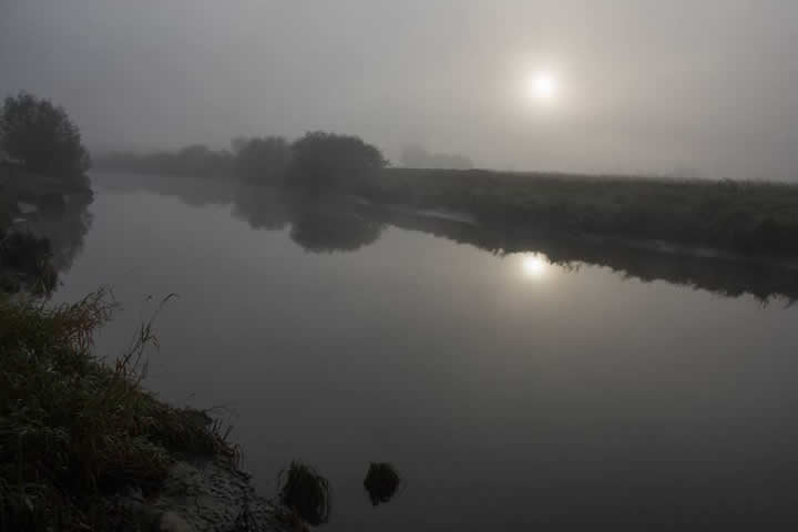 It was misty when the anglers arrived at the river.