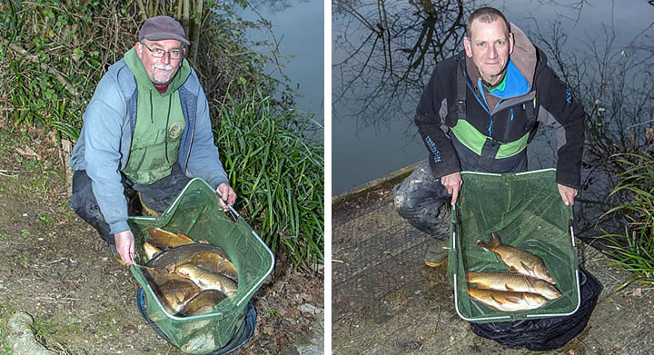 First place Vince and runner up Keith with their bags of carp